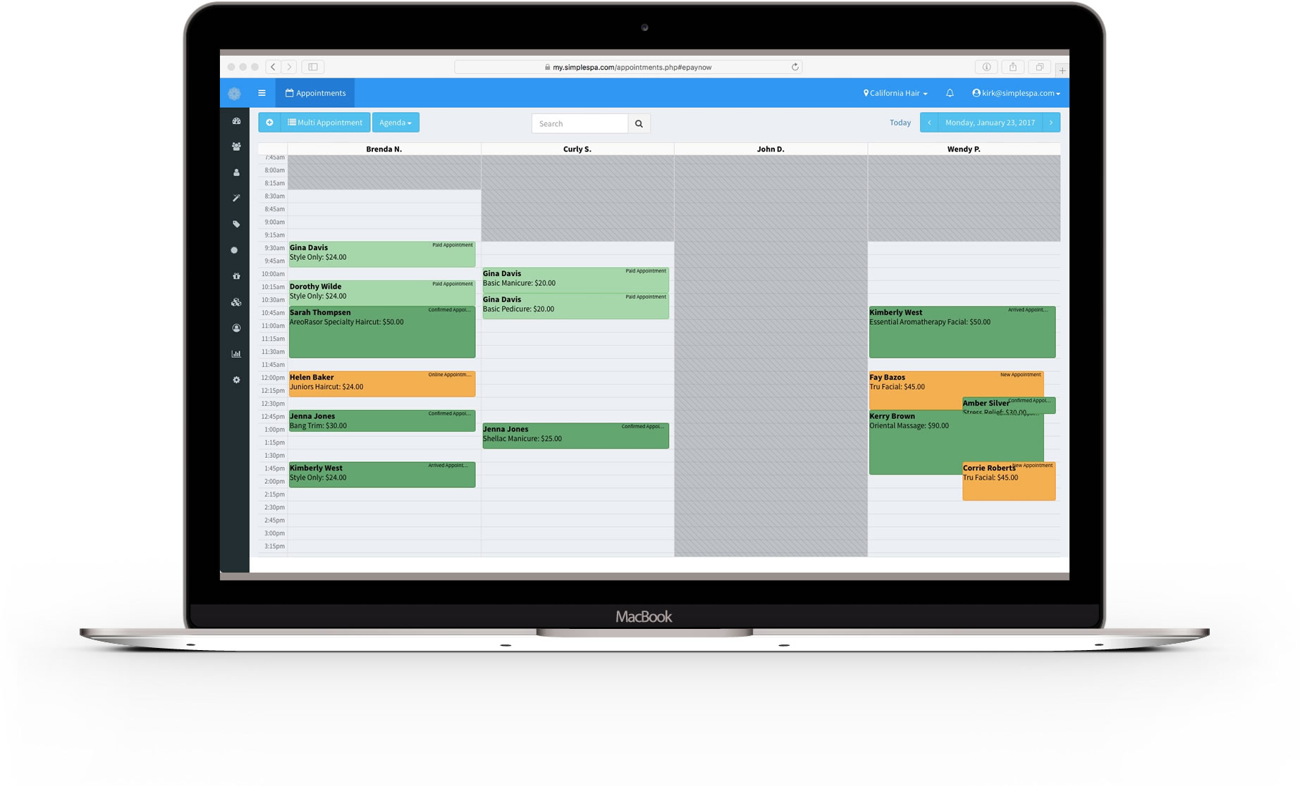 appointment management software by simplespa calendar features